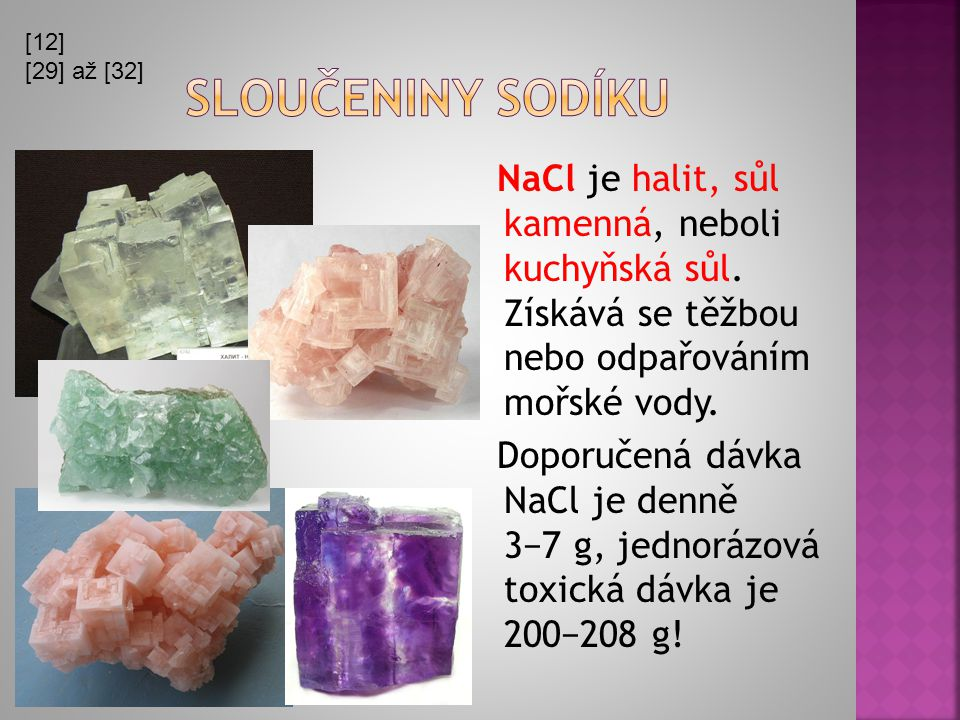[12] [29] až [32] Sloučeniny sodíku.